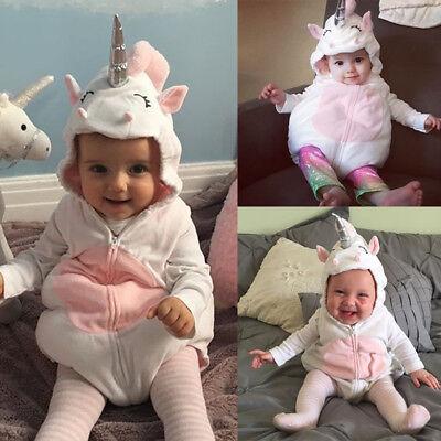 Baby Unicorn Costume (Costume Newborn Baby Girls Unicorn Romper Jumpsuit Jumper Outfits Hooded)