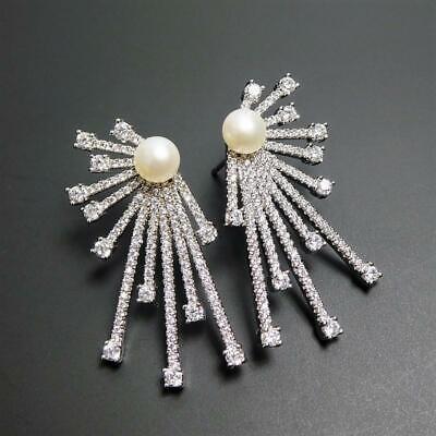Shiny Silver Tone Sparkling CZ Freshwater White Pearl Deco Starburst Earrings Freshwater Shiny Earrings