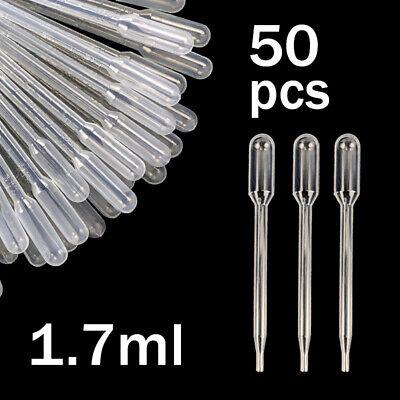 1.7ml Mini Plastic Transfer Pipettes Oil Paint Eye Dropper Tool Pack Of 50