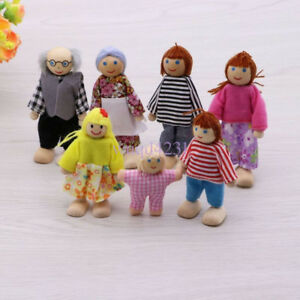 7pcs Sweetbee House Family Flexible Wooden Dolls People Figures Kids Gift Toy UK