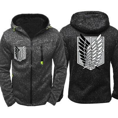 Attack on Titan Mens Thin Hoodie Zipper Coat Jacket pocket Sweatshirt - Attack On Titan Coat