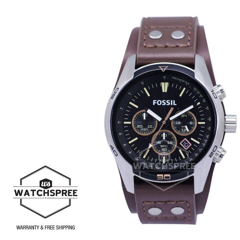 Fossil Coachman Chronograph Men Brown Leather Watch CH2891