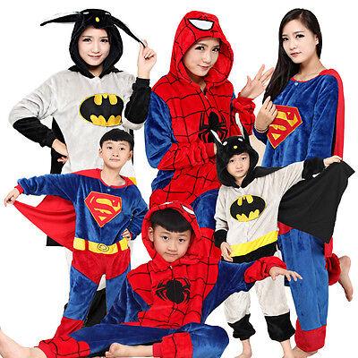 Spiderman Kostüm Erwachsene (Familie Erwachsene Kinder Pyjamas Cosplay BatMan Spider-Man Kigurumi Hoodie)