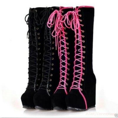 Suede Goth Boots Shoes - New Punk Emo Goth Womens Shoes Lace Up Faux Suede Platform Wedge Knee High Boots