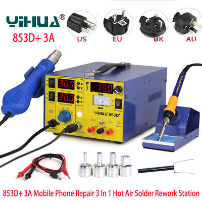 Yihua 853d 3a Rework Soldering Station Electronic Desoldering Iron Hot Air Gun