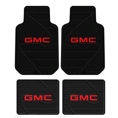 New GMC Factory Logo All Weather Heavy Duty Rubber Front  Back Floor Mats Set