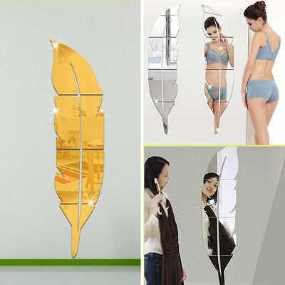 (Feather Mirror Wall Sticker 3D Decal Room Decor Stick On Modern Art Decorations)