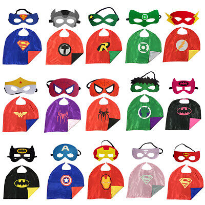 Marvel DC Comic Superhero Cape and Mask Costumes Party Kids Gift Halloween Xmas (Kids Superhero Halloween Costumes)