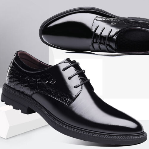 British Style Mens Business Formal Dress Shoes Patent Leather Pointy Toe Lace up