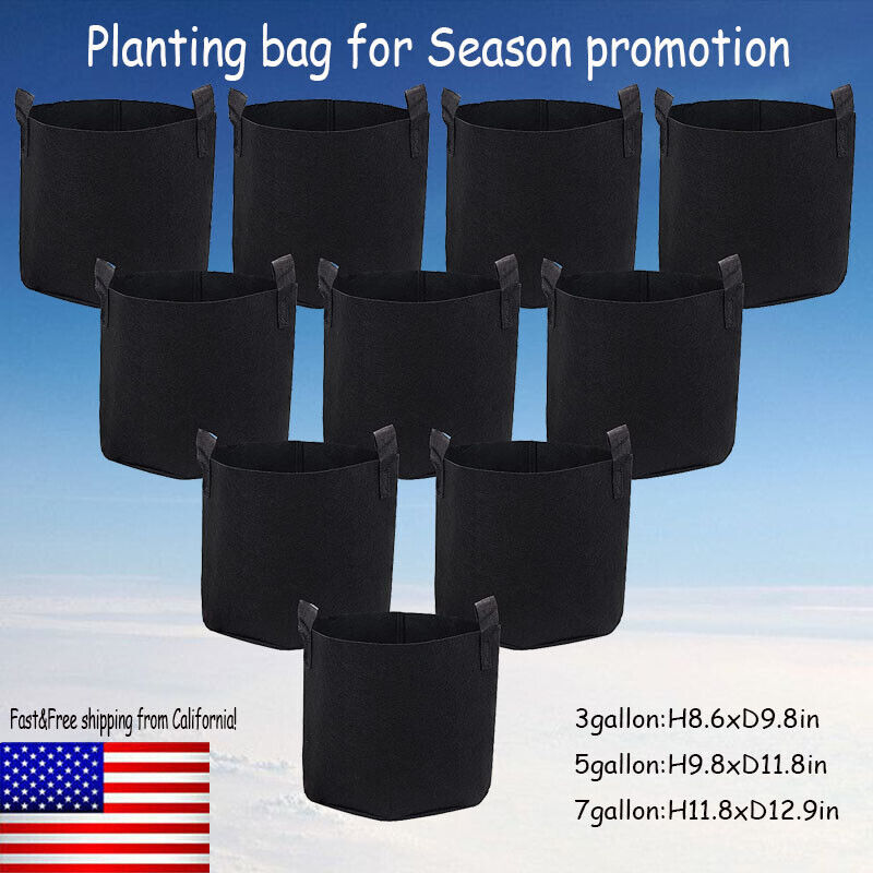 Pack of 10 Fabric Grow Pots Breathable Planter Bags 3/5/7 Gallon Bags US
