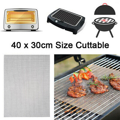4x BBQ Grill Mesh Non-Stick Mat Reusable Teflon Sheet Resistant Barbecue Baking Non-stick Sheet