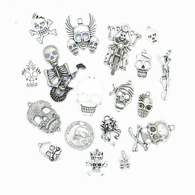 18pcs Tibetan Silver Color Skull Pendant Charms for Halloween Jewelry Making](Halloween Making)