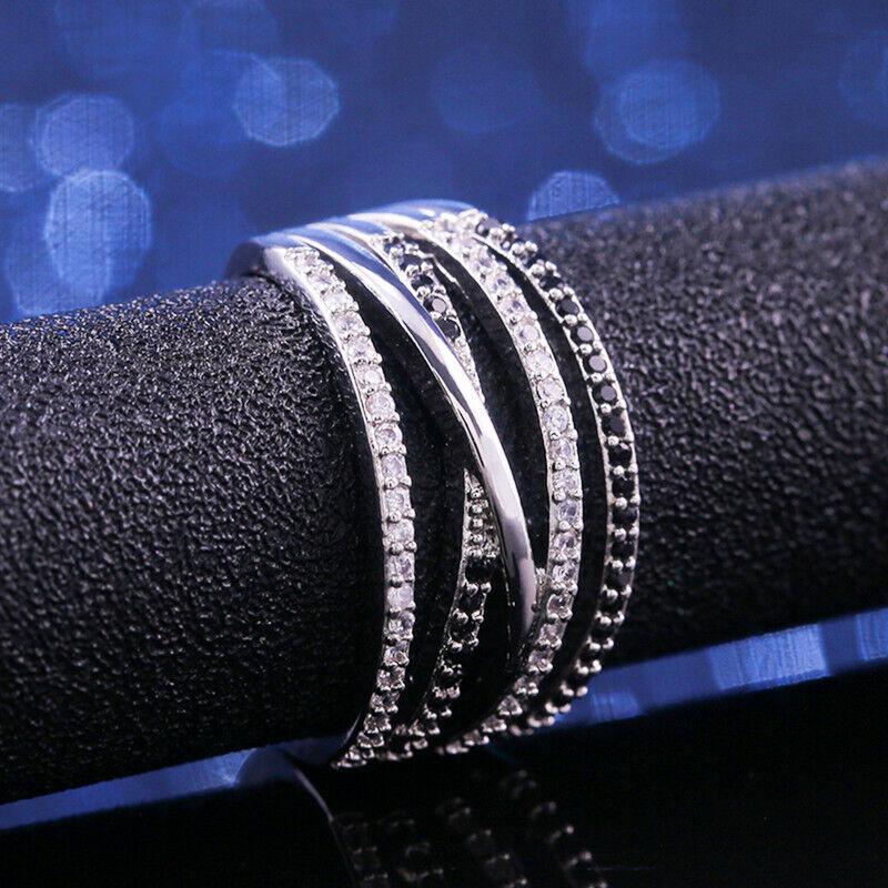 Infinity Women 925 Silver Rings Black & White Sapphire Weddi