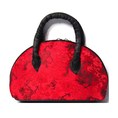 HANDMADE BLACK RED SILK BROCADE SATCHEL BAG Brocade Red Bag
