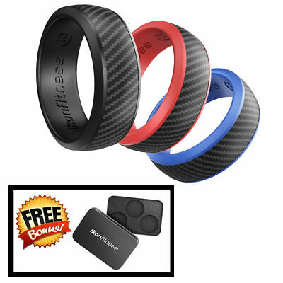 Ikonfittness 3 Color Silicone Rubber Wedding Ring Rubber for Men Comfortable Fit](Rubber Man)