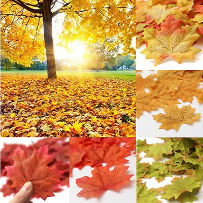 100pcs Fall Fake Silk Leaves Wedding Favor Autumn Maple Leaf Decorations - Fall Leaves Decorations