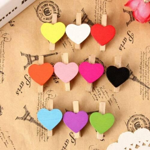 20pcs Mini Wooden Glitter Craft Pegs Paper Photo Clothes Clips Wedding Decor