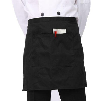 1 Black Unisex Waiter Waist Half Short Apron Restaurant Kitchen Home 6.5 Pocket