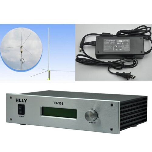 HLLY 30W TX-30S Professional FM Transmitter Radio Include Power and GP Antenna