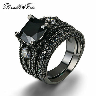 3 Stone Black Nano Ring Set Black Gold Plated Wedding Jewelry Rings For Women
