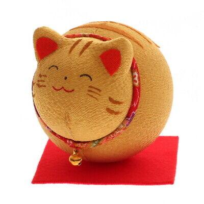 Japanese Roly-Poly Chirimen Maneki Neko Tabby Cat Bell Ornament Made in Japan