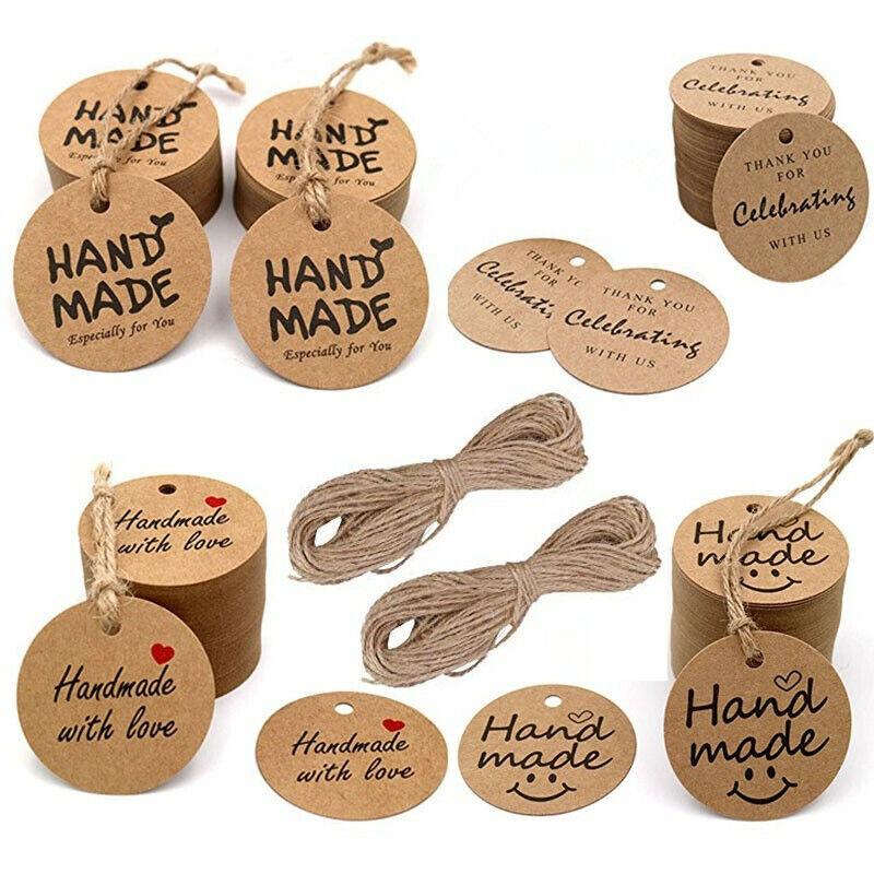 100pcs Kraft Gift Tags Wedding Favour Brown Handmade Hang Label Tool Thank You