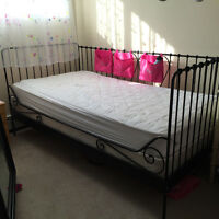 Twin bed: frame and mattress