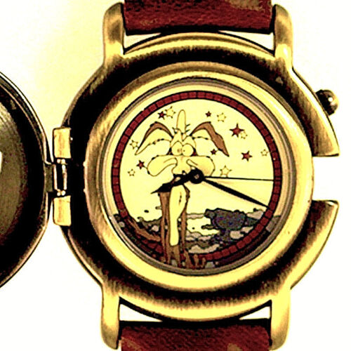 Wile Coyote Flip Cover, Mans Fossil NIB Warner Bros Watch Collection, Unworn $99