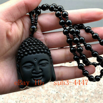 Natural Obsidian Buddha Head Pendant Religion Carved Good Luck Talisman Necklace
