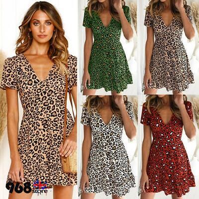 ✅Womens Leopard Print V-Neck Summer Short Sleeve Mini Party Maxi Dress Club Wear