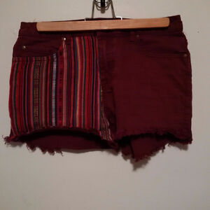 Harlow Burgundy Denim Shorts With Stripes