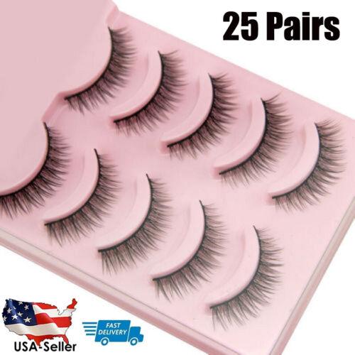 25Pairs Natural Short Cross False Eyelashes Handmade Fake Ey