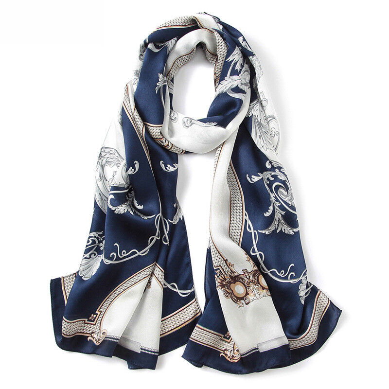 9466ceff499 100% Pure Mulberry Silk Women Large Long Scarf Shawl Grace Blue Red ...