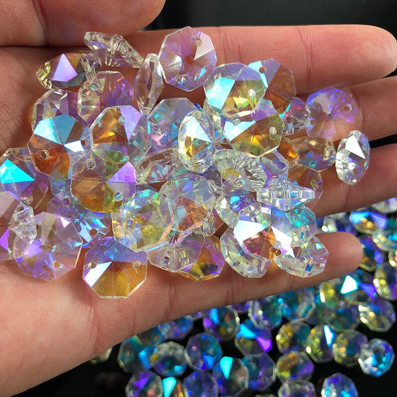 100PC AB Aurora Octagonal Bead Crystal Chandelier Suncatcher Prism Part Pendant