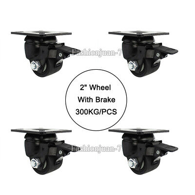 4pcs 2 Heavy Duty Industrial Machine Casters Universal Wheel Roller With Brake