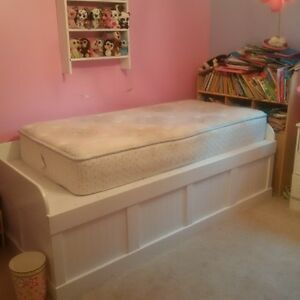 homemade white wooden captain's bed for sale