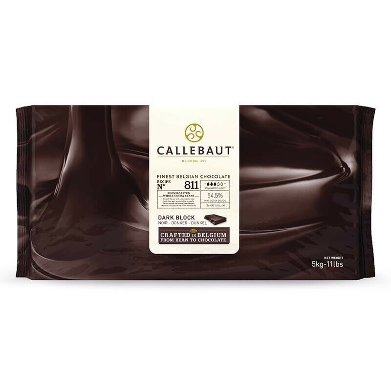 Callebaut 811 Dark Chocolate Block 54.5% 11 Lbs,GREAT FOR SNACKING AND BAKING.