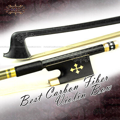 Top Best Carbon Fiber 44 Violin Bow Ebony New Type Golden Parts Stiff Fast 58.7g on Rummage