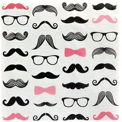 Buy Baby Shower Decorations (Pink Mustache Dinner Napkins (20) Gender Reveal; Little Lady Theme shower)