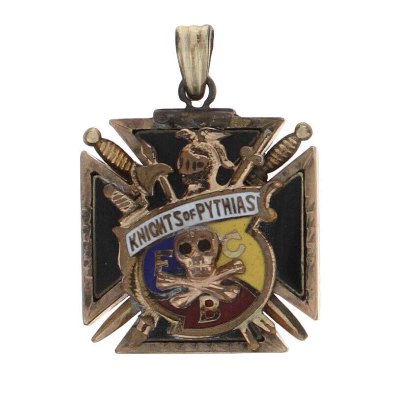 Gold Filled Knights of Pythias Fob Pendant - Onyx & Enamel FCB Fraternal Member