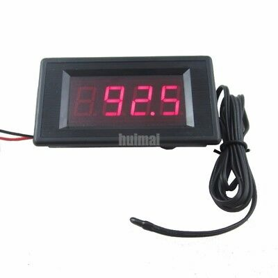 12v Red Digital Fahrenheit Thermometer High Low Alarm -76 To 257 Temperature