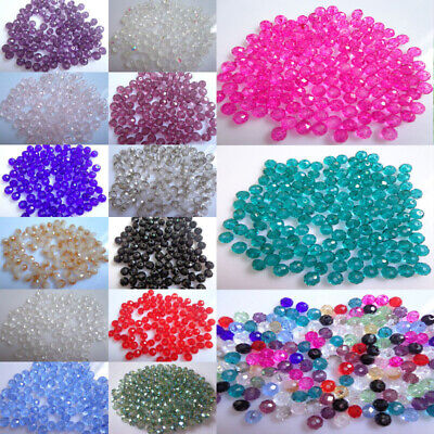100pcs Round Glass Stone Loose Spacer Seed Beads DIY Charms Jewelry -
