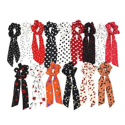 Solid Spot Bow Ribbon Scrunchie Hair Band Elastic Hair Ties Rope Scarf Headband
