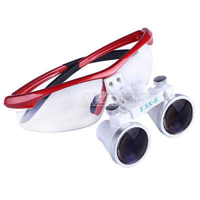 Dental Surgical Binocular Loupes Glasses Lens Magnifier Red 3.5x-r