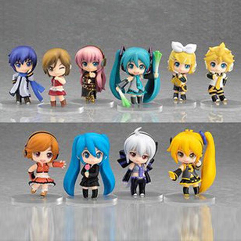Lot 10 pcs Vocaloid HATSUNE MIKU Action Figures Luka Rin Len PVC Dolls Gift Kid