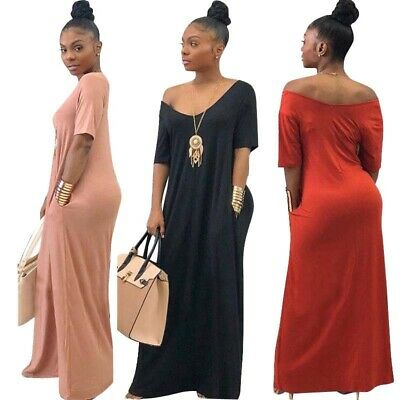 Women's Off Shoulder Long Maxi Dress V Neck Pocket Short Sleeve Loose Oversize