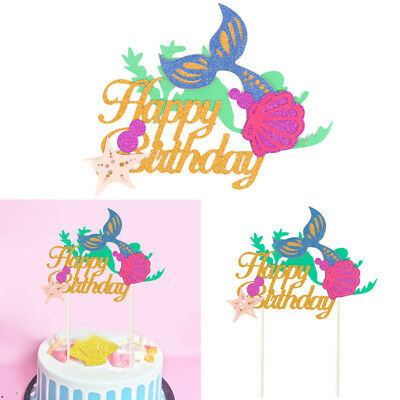 Starfish Mermaid Happy birthday Cake Toppers Cupcake Baby Shower DIY Gifts Decor