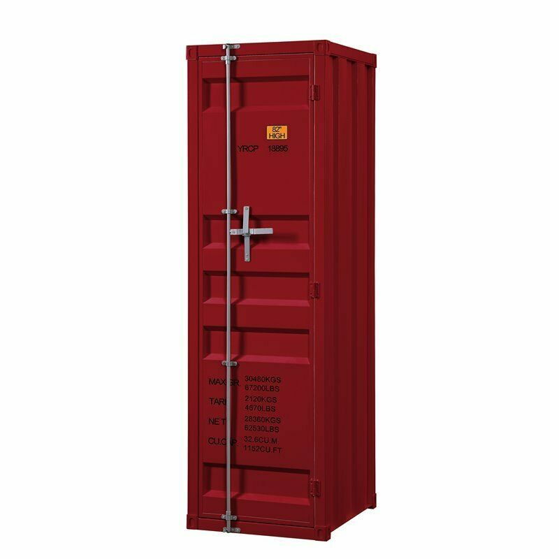 Bowery Hill Contemporary Metal Wardrobe Armoire with 1 Door in Red