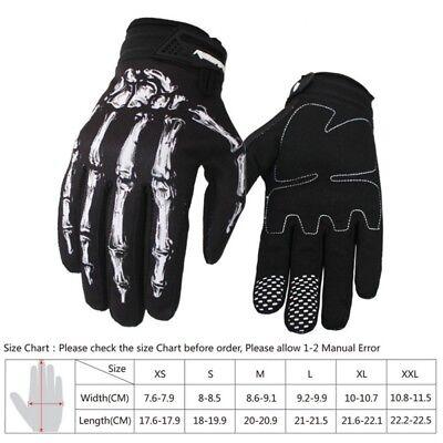 Herren Motorrad Rennen Skelett Schädel Knochen Mechaniker Sport Warm Handschuhe (Skelett Handschuhe Knochen)