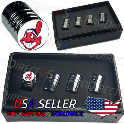 Cleveland Indians Baseball Chief Wahoo Logo Car Valve Stem Caps Chrome Tires USA
